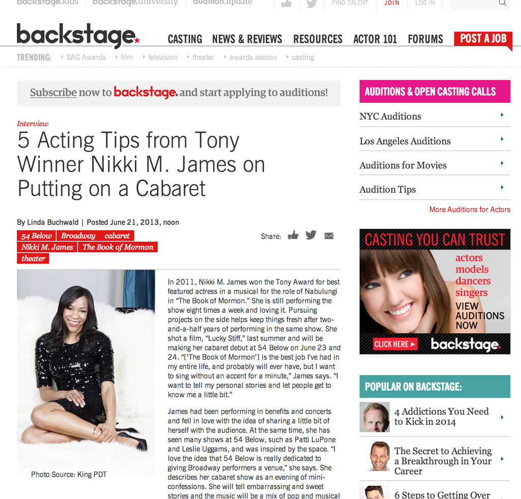 BROADWAY ALERT: Book of Mormon's Nikki M. James feature exclusively on Backstage.com