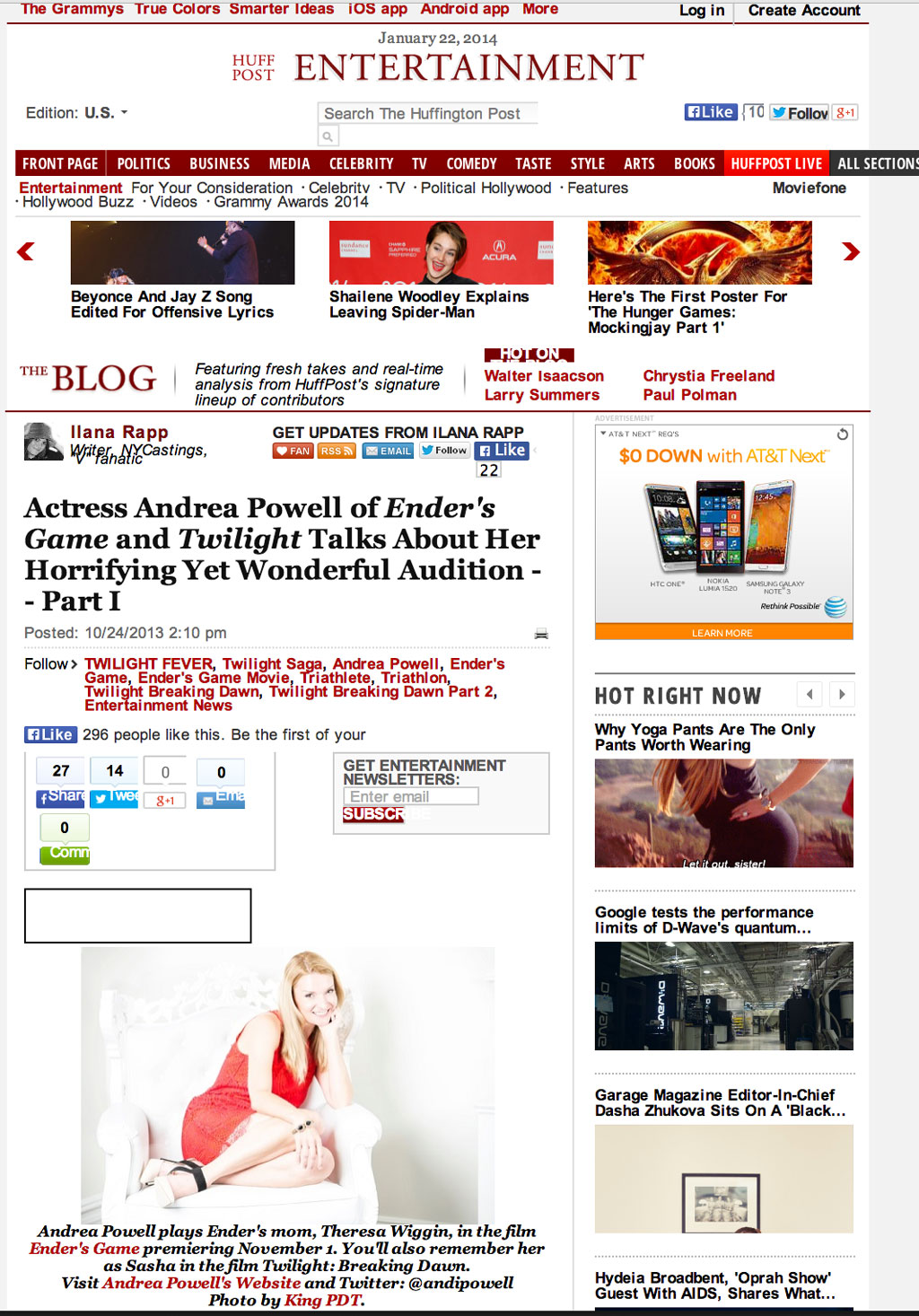 Huffington Post Entertainment interviews Andrea Powell's Role in Ender's Game