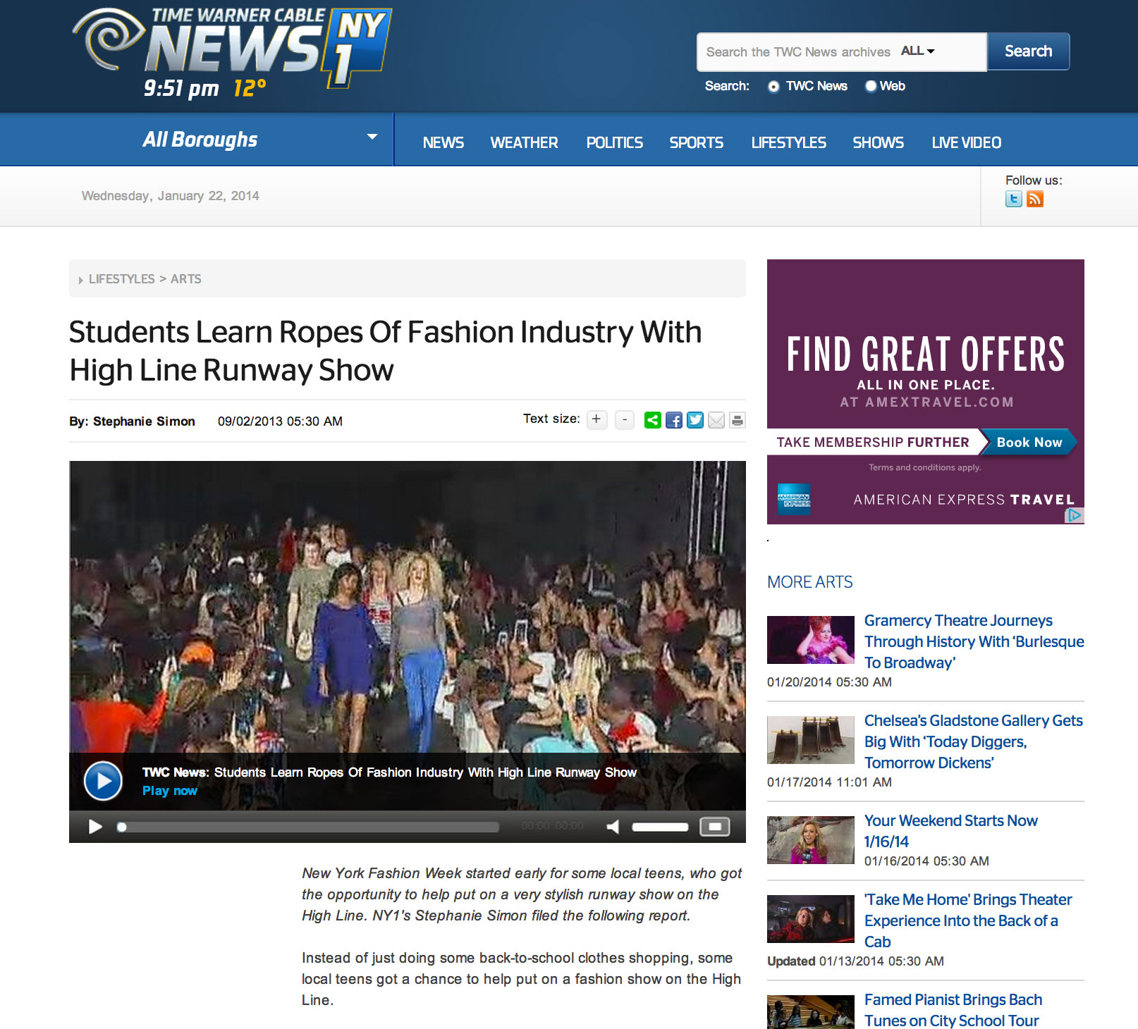 Featured on NY1 – Caravan Stylist Studio does Highline Fashion Show