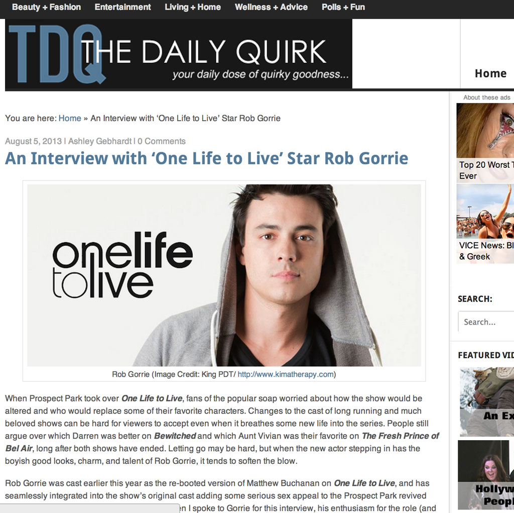 "Rob Gorrie's interview with The Daily Quirk about his role on ""One Life to Live"""